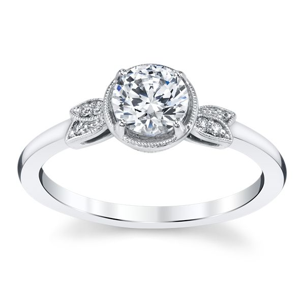 Kirk Kara 14k White Gold Diamond Engagement Ring Setting .03 ct. tw.