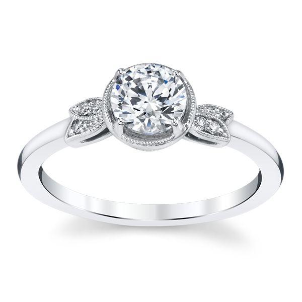 Kirk Kara 14k White Gold Diamond Engagement Ring Setting .03 ct. tw.