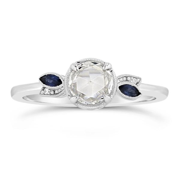 Kirk Kara 14k White Gold Blue Sapphire Diamond Engagement Ring 1/2 ct. tw.
