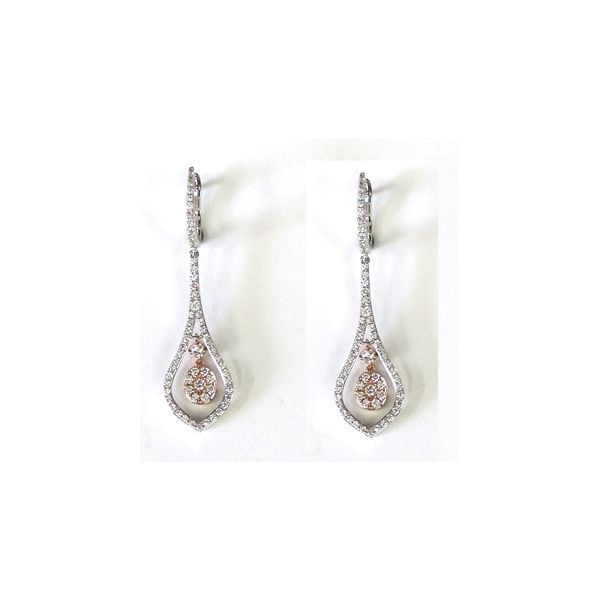 14k White Gold and 14k Rose Gold Earrings 1 1/4 ct. tw.