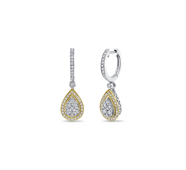 14k White Gold and 14k Yellow Gold Earrings 1 ct. tw.