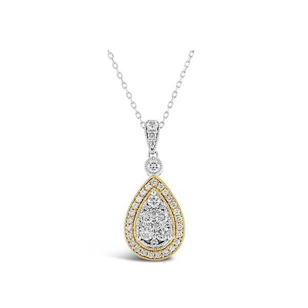 14k White Gold and 14k Yellow Gold Pendant 3/4 ct. tw.