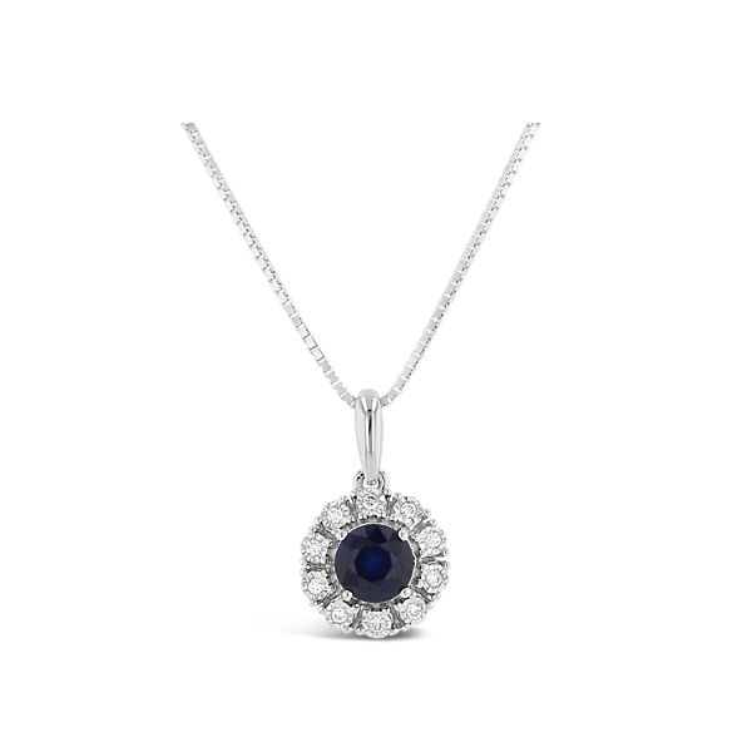 14k White Gold Blue Sapphire Pendant .06 ct. tw.