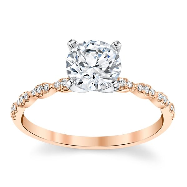 Coast Diamond 14k Rose and 14k White Gold Diamond Engagement Ring Setting .08 ct. tw.