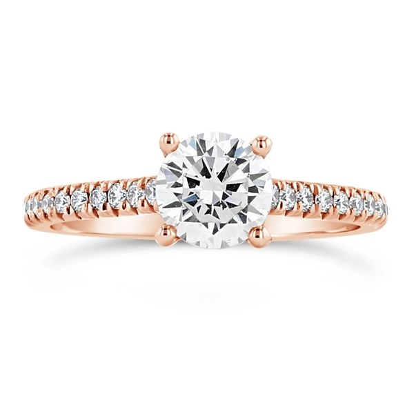 Henri Daussi 14k Rose Gold Diamond Engagement Ring Setting 1/5 ct. tw.