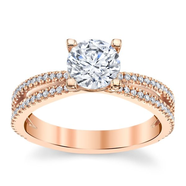 Suns and Roses 14k Rose Gold Diamond Engagement Ring Setting 1/4 ct. tw.
