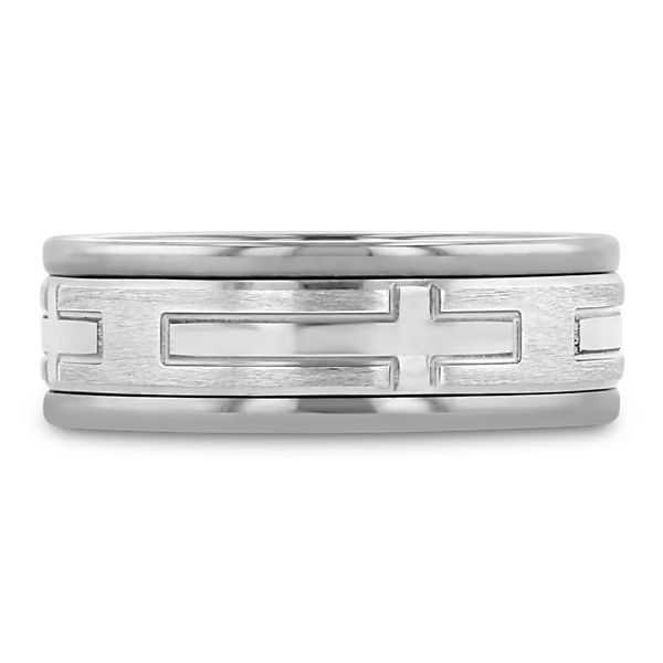 Triton Tungsten and 14k White Gold 8 mm Wedding Band