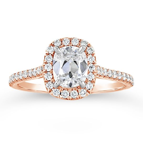 Henri Daussi 14k Rose Gold Diamond Engagement Ring 1 1/3 ct. tw.
