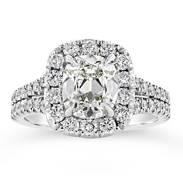 Henri Daussi 18k White Gold Diamond Engagement Ring 2 3/4 ct. tw.