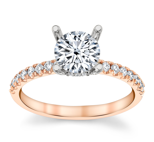 Suns and Roses 14k Rose Gold and 14k White Gold Diamond Engagement Ring Setting 1/4 ct. tw.