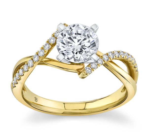 RB Signature 14k Yellow Gold and 14k White Diamond Engagement Ring Setting 1/6 ct. tw.