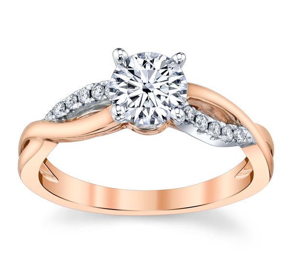 RB Signature 14k Rose and 14k White Gold Diamond Engagement Ring Setting 1/10 ct. tw.