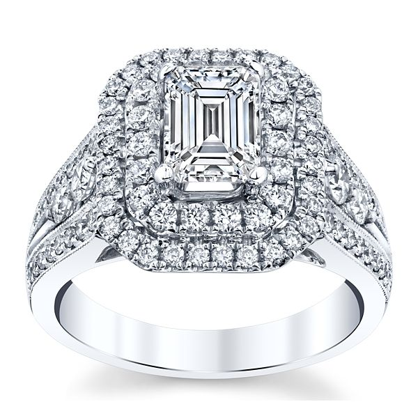 Divine 18k White Gold Diamond Engagement Ring Setting 1 ct. tw.