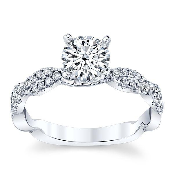 Divine 18k White Gold Diamond Engagement Ring Setting 1/5 ct. tw.