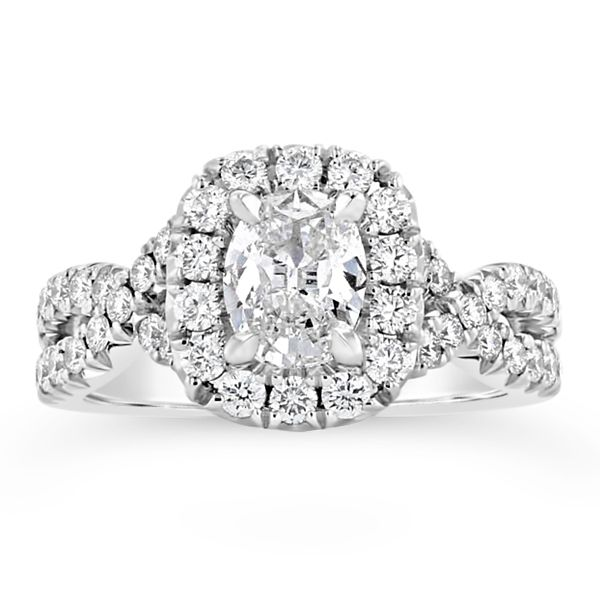 Henri Daussi 18k White Gold Diamond Engagement Ring 3/4 ct. tw.