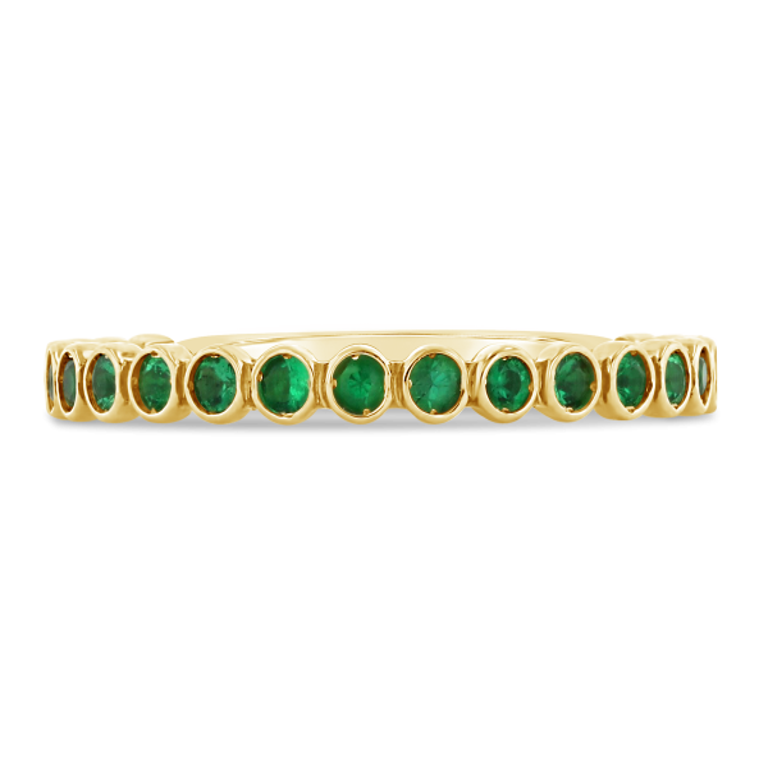 Tacori 18k Yellow Gold Emerald Diamond Wedding Band
