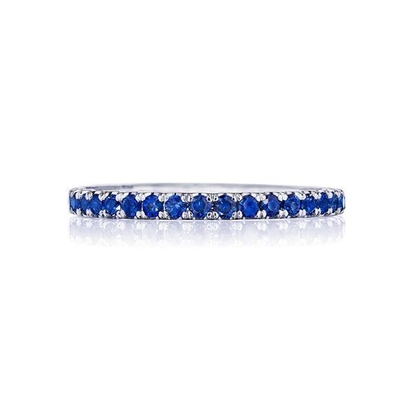 Tacori 18k White Gold Blue Sapphire Diamond Wedding Band