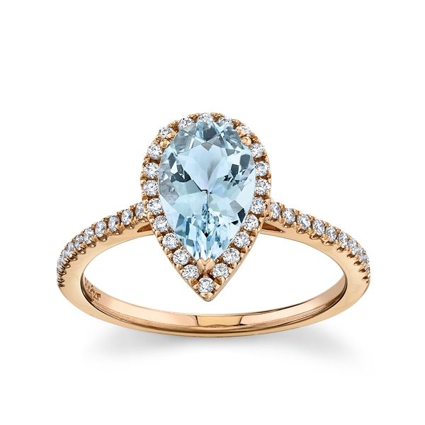 Blossom Bridal 14k Rose Gold Aquamarine Diamond Engagement Ring 1/4 ct. tw.