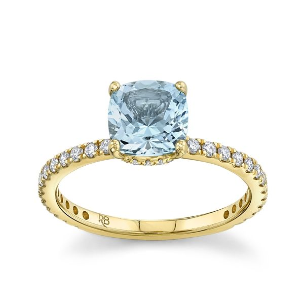 Blossom Bridal 14k Yellow Gold Aquamarine Diamond Engagement Ring 3/8 ct. tw.