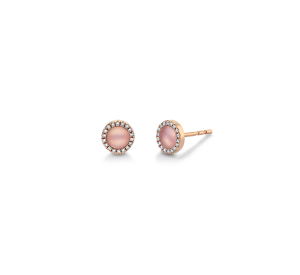 Shy Creation 14k Rose Gold Pink Opal Earrings .07 ct. tw.