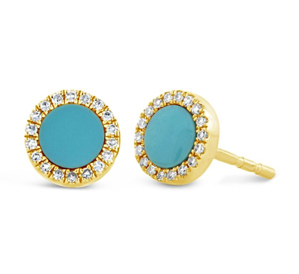 Shy Creation 14k Yellow Gold Composite Turquoise Earrings .07 ct. tw.