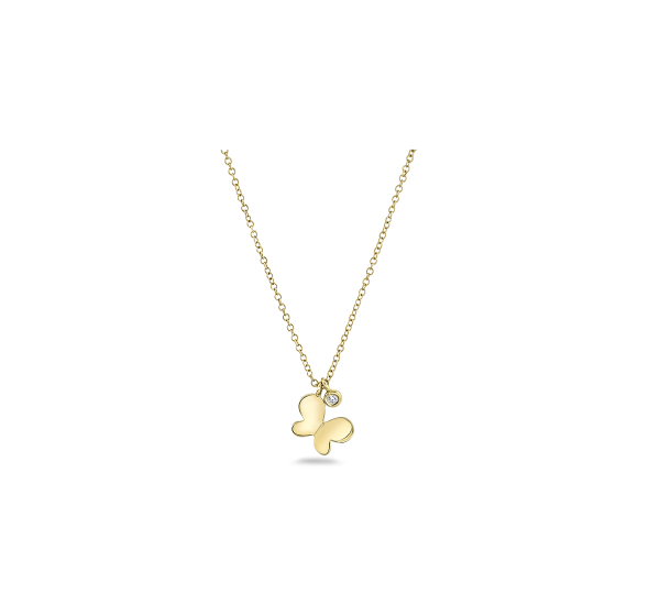Shy Creation 14k Yellow Gold Necklace .02 ct. tw.