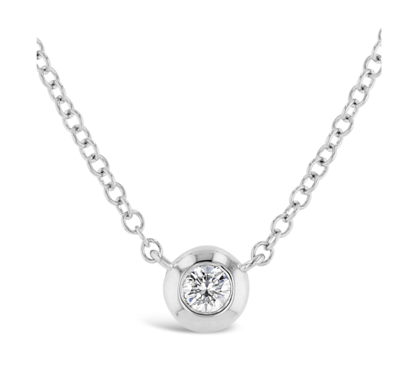 Shy Creation 14k White Gold Bezel Set Diamond Pendant .04 ct. tw.