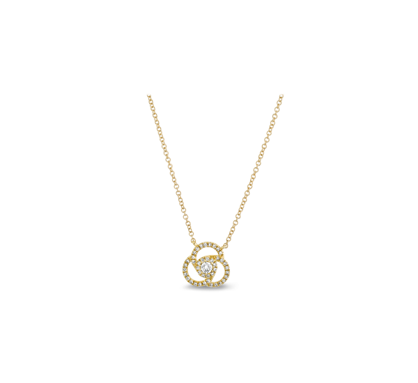Shy Creation 14k Yellow Gold Necklace 1/6 ct. tw.