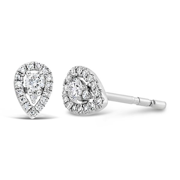 Shy Creation 14k White Gold Pear Shaped Halo Earrings 1/5 ct. tw.
