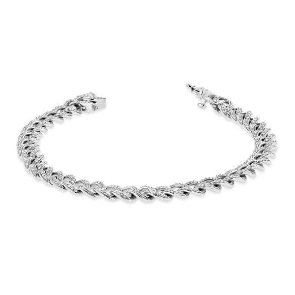 Shy Creation 14k White Gold Link Diamond Bracelet 1 ct. tw.