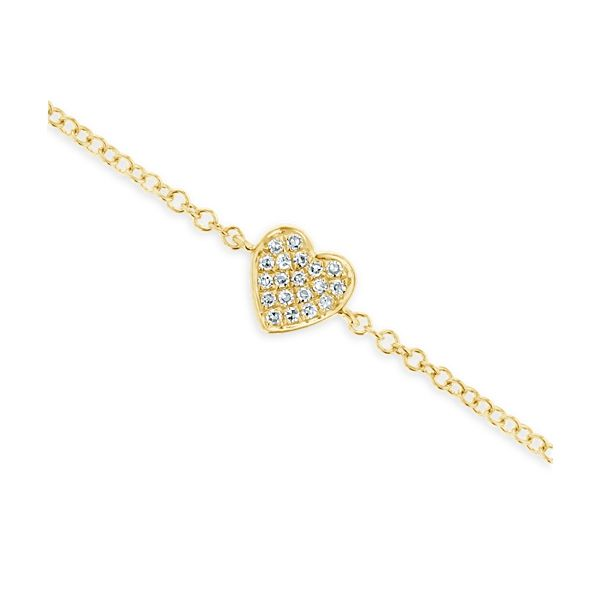 Shy Creation 14k Yellow Gold Heart Bracelet .03 ct. tw.