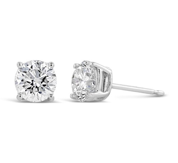 14k White Gold Solitaire Earrings 1 1/2 ct. tw.