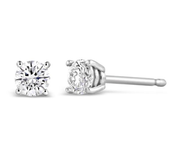 14k White Gold Solitaire Earrings 1/4 ct. tw.