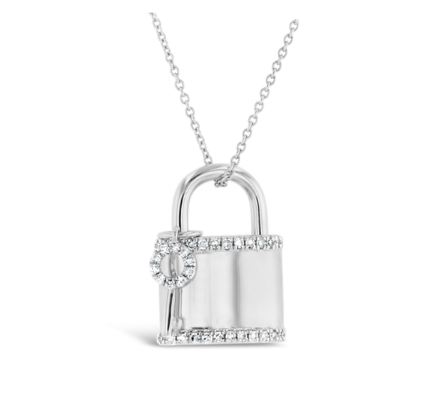 Shy Creation 14k White Gold Lock And Key Pendant 1/5 ct. tw.