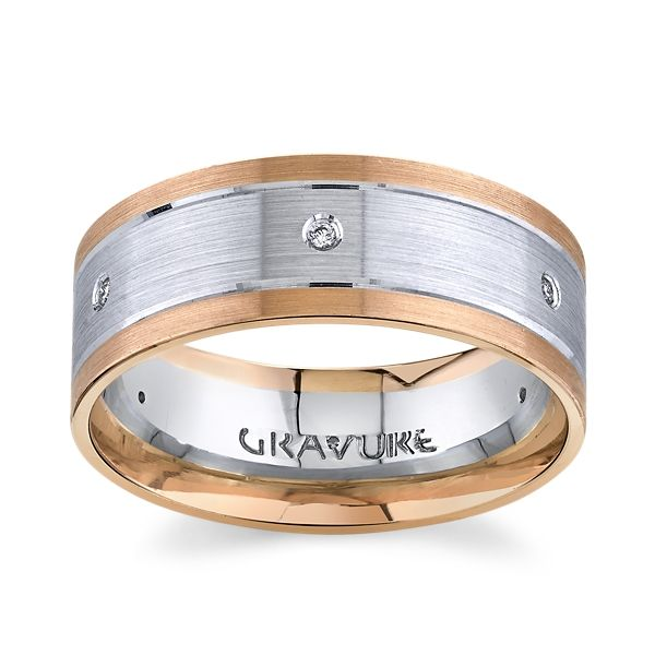 Gravure 14k White Gold And 14k Rose Gold 8mm Diamond Wedding Band .06 ct. tw.