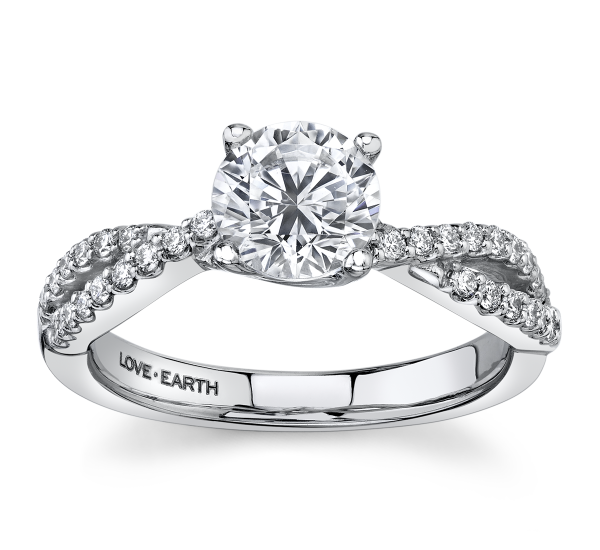 Love Earth 14k White Gold Diamond Engagement Ring Setting 1/4 ct. tw.