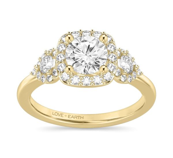 Love Earth 14k Yellow Gold Diamond Engagement Ring Setting 1/2 ct. tw.