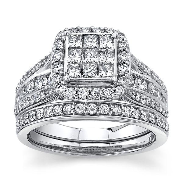 Mosaic Collection 14k White Gold Diamond Wedding Set 1 1/2 ct. tw.