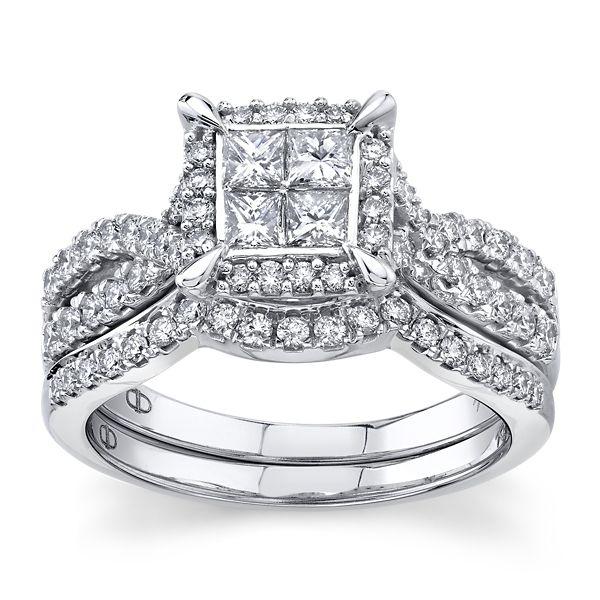 Mosaic Collection 14k White Gold Diamond Wedding Set 1 ct. tw.