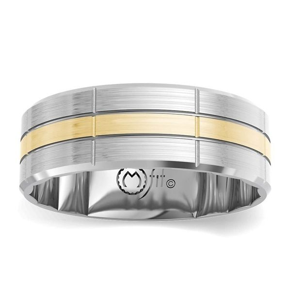 MFit 14k White Gold and 14k Yellow Gold 7.5 mm Wedding Band
