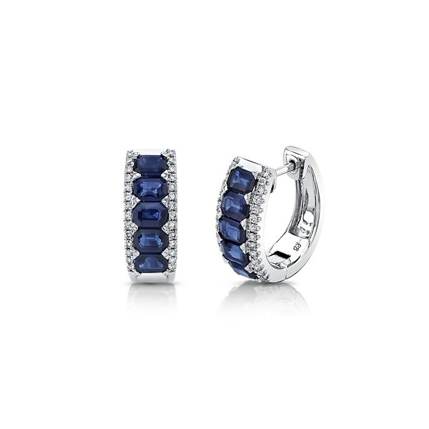 14k White Gold Blue Sapphire Earrings 1/4 ct. tw.