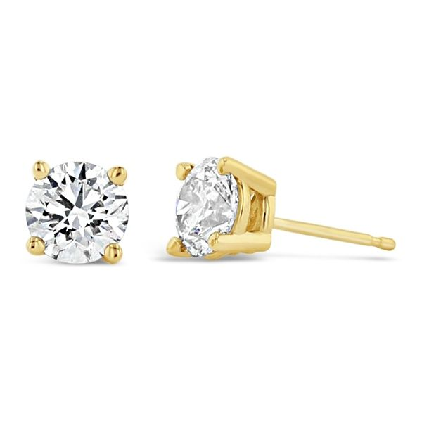 Eternalle Lab-Grown 14k Yellow Gold Solitaire Earrings 1 1/2 ct. tw.