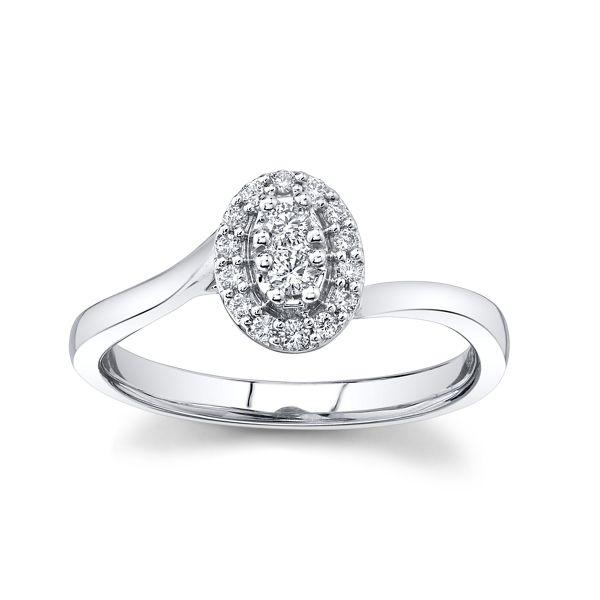 Cherish 10k White Gold Promise Ring 1/8 ct. tw.