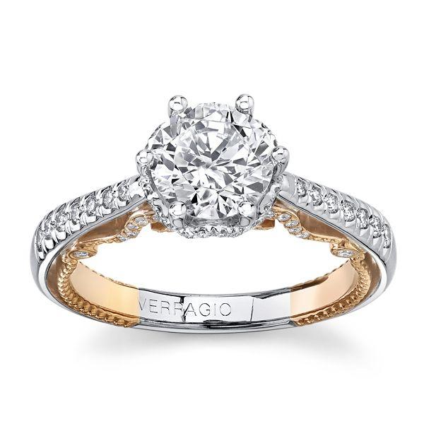 Verragio 18k White Gold & 18k Rose Gold Diamond Engagement Ring Setting 1/3 ct. tw.