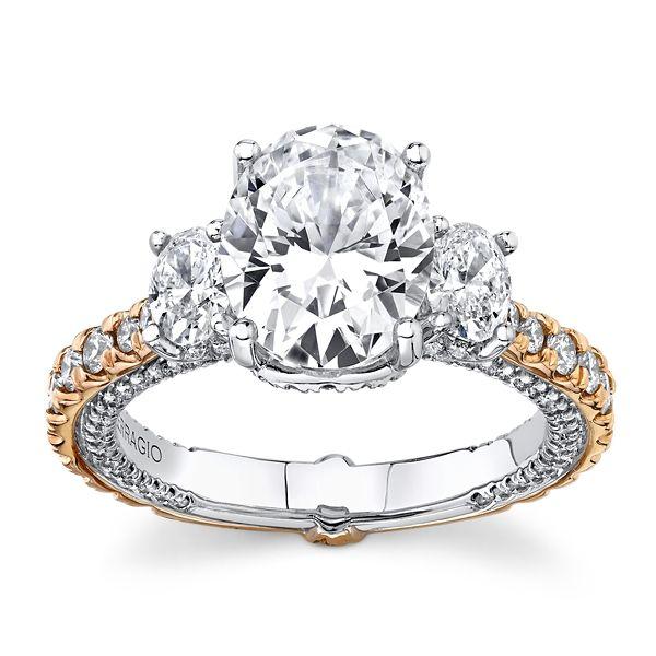 Verragio 18k White Gold and 18k Rose Gold Diamond Engagement Ring Setting 1 1/3 ct. tw.