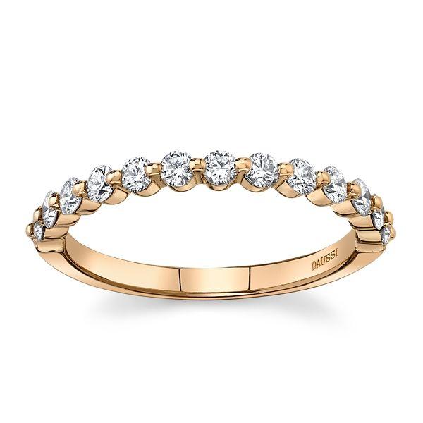 Henri Daussi 14k Rose Gold Diamond Wedding Band 3/8 ct. tw.