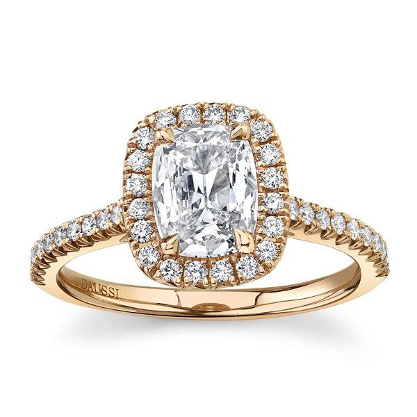 Henri Daussi 18k Rose Gold Diamond Engagement Ring 1 1/3 ct. tw.