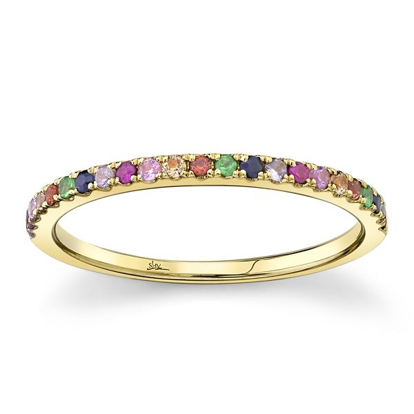 Shy Creation 14k Yellow Gold Multi Color Stones Band