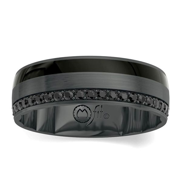 MFit Black Ceramic Carbide and 14k White Gold Black Diamond Diamond Wedding Band 1/5 ct. tw.