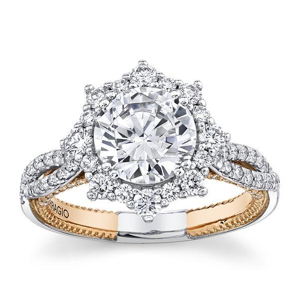 Verragio 18k White and 20k Rose Gold Diamond Engagement Ring Setting 3/4 ct. tw.